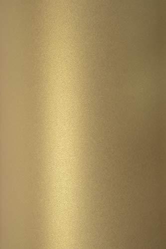 10x Blatt Perlmutt-Altgold 125g Papier DIN A4 210x297mm, Sirio Pearl Gold, ideal für Hochzeit, Geburtstag, Taufe, Weihnachten, Einladungen, Diplome, Visitenkarten, Grußkarten, Scrapbooking