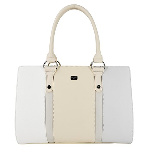 David Jones - Borsa a Mano Grande Capacità Donna - Capiente Tote Shopper Bag PU Pelle - Cartella Satchel Multicolore - Borse Spalla Tracolla Manico Lungo A4 - Lavoro Scuola Ufficio Moda - Beige Bianco