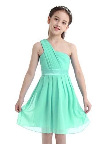 IEFIEL Vestido Corto de Fiesta Boda Ceremonia Niña Vestido Gasa Falda Plisado Vestido de Flores Dama de Honor Un Hombro Descubierto Diseño Único Verde Claro 14 Años