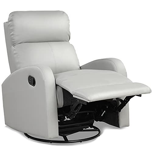 Giantex Recliner Chair, Manual Rocking Chairs with Pull Button, 360° Swivel Glider, Faux Leather...