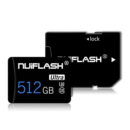 512GB Micro SD Speicherkarte mit SD Karte Adapter (Schnelle Geschwindigkeit Klasse 10) Microsd TF Memory Karte, SD Speicherkarte Card füR Kamera, Handy, Tablet, Kamera, GPS, Dashcam, üBerwachung