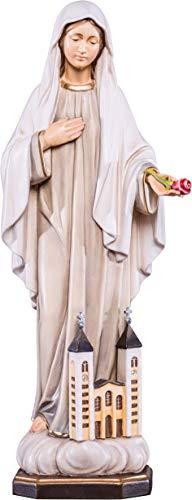 Ferrari & Arrighetti Imagen de la Virgen de Medjugorje en Talla de Madera Pintada a Mano - Mide 30 cm - Demetz Deur