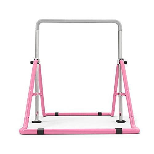 Futchoy - Barra horizontal para niños de acero, altura ajustable, dispositivo de entrenamiento al aire libre (rosa)