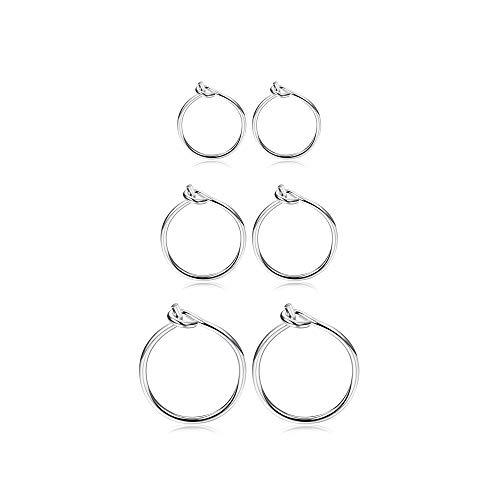 Fiasaso3Pairs925SterlingSilverHoopEarringsForWomenGirlsSmallHoopEarrings Sleeper Earrings Piercing Jewelry Set 6MM 8MM 10MM Silver Tone
