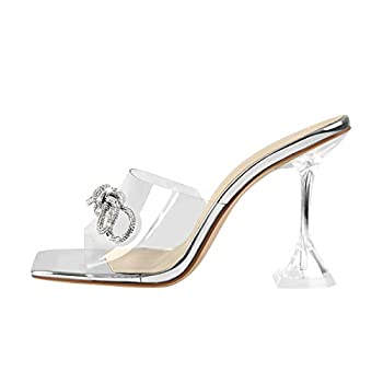 LISHAN Sexy Party High Heels Open Square Toe Slides Slipper Clear Transparent Strap Mules Stiletto Heels Studded Bow-knot Decoration Silver Size 7