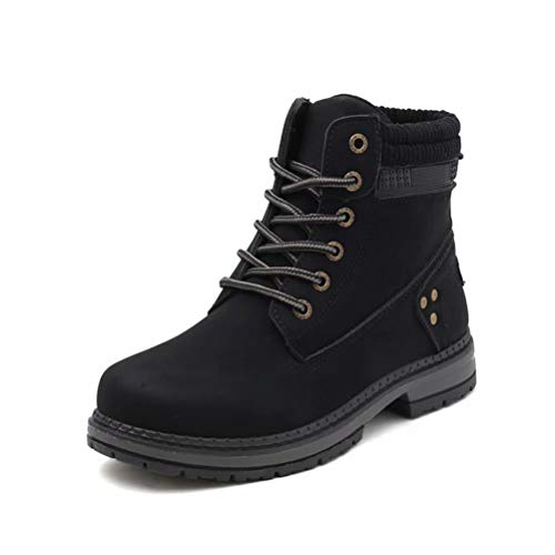 [Agogoo]マーチンブーツレディースブーツワークブーツファション滑り止め歩きやすい通学普段用四季冬暖かい黒ブラックピンク