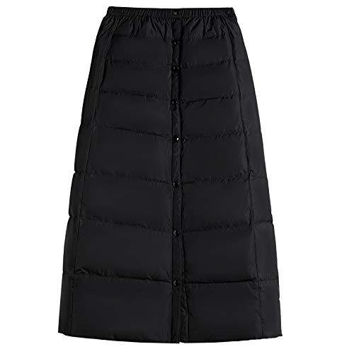Falda Abajo Negra Invierno para Mujer Una Pieza Espesar De Longitud Media De Gran Tamaño A-Palabra Falda Black-M