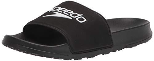 Speedo unisex adult Deck Slide Sandal, Black/White, 16 Women 14 Men US