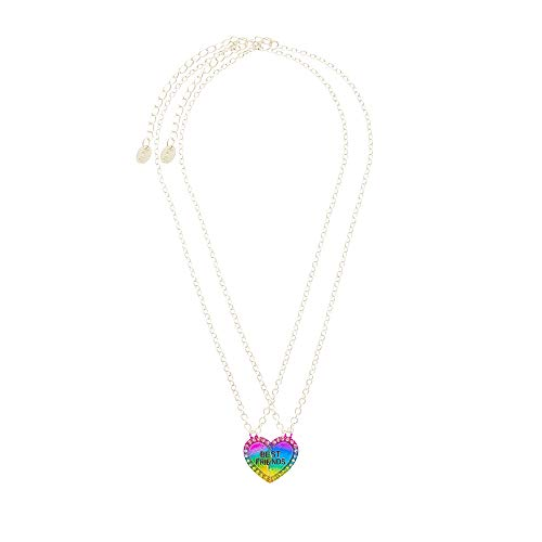Claire's Matching Neon Crystal Heart Pendant Best Friends Necklaces, Silver Tone, 16 Inches Long, Lobster Clasp, Set of 2