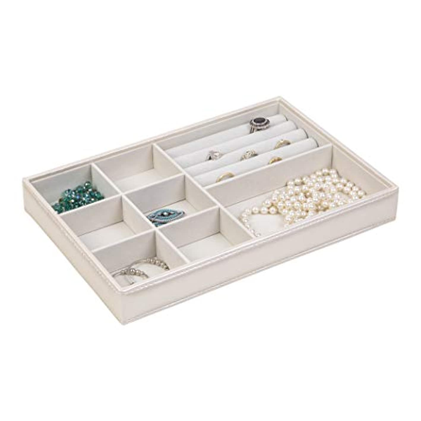 Richards Homewares Tray with Ring, Display and Storage, Holder for Earrings, Bracelets, Necklaces & All Kinds of jewelries – 8 Compartment-Champagne, 12 x 8 x 1.6,