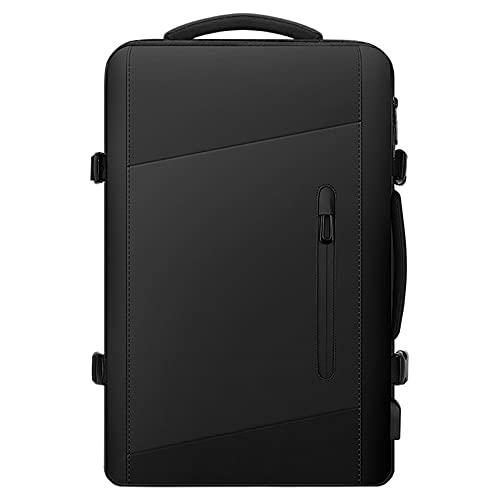 YONGJINGN Mochila para Computadora Portátil Bolsa Impermeable Negra De Gran Capacidad para Hombres Se Puede Utilizar para Viajes Viajes De Negocios Vacaciones