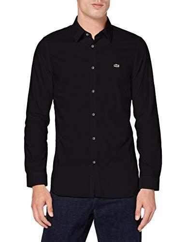 Lacoste CH2668 Camicia elegante, Nero, 42 Uomo