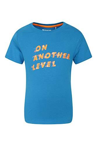 Mountain Warehouse Tee-Shirt imprimé « on Another Level » pour Enfant - T-Shirt léger - Tee-Shirt Respirant - Haut Confortable - Idéal pour Les Vacances, la randonnée Bleu 5-6 Ans