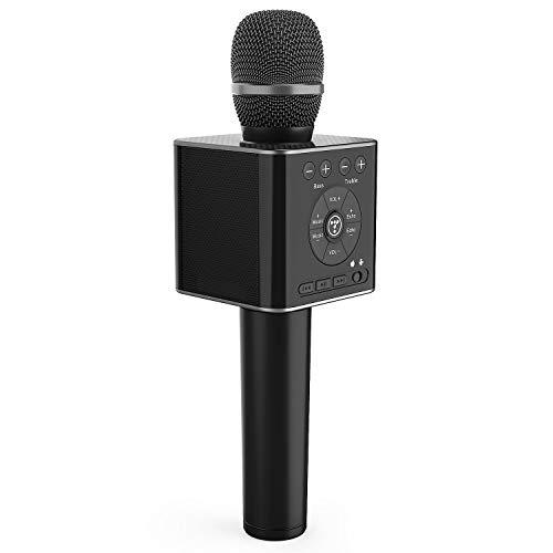 TOSING 04 drahtloses Bluetooth Karaokemikrofon, lauteres Volumen 10W Energie, mehr Baß, 3-in-1 beweglicher Handdoppeltsprecher-Mic-Maschine für iPhone/Android/iPad/PC (Schwarz)