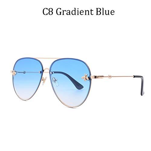 ZKYXZG Gafas de sol Gafas de sol sin montura de lujo para mujer Gafas de sol para mujer Lentes de gradiente Lentes Señoras UV400 rayos, 8839 C8