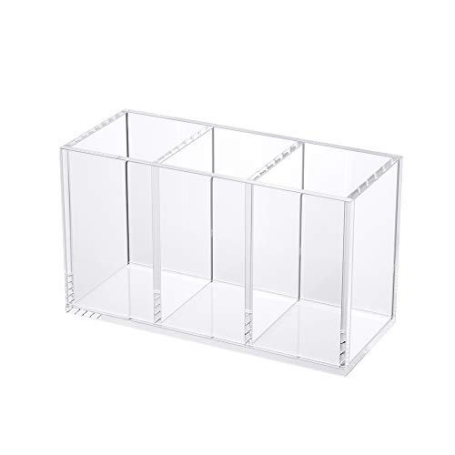 NIUBEE Acrylic Pen Holder 3 Compartments, Clear Pencil Organizer Cup for Countertop Desk Accessory Storage
