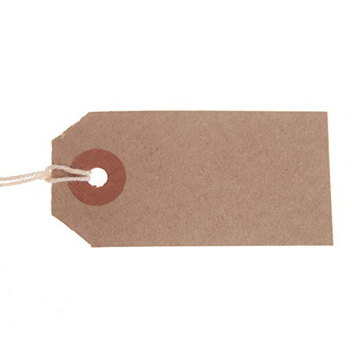 1000 Pack - 82 x 41mm Brown Buff Strung Tags 977297