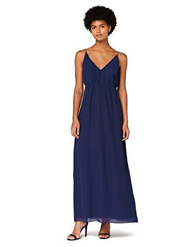Amazon-Marke: TRUTH & FABLE Damen Maxi-Boho-Kleid aus Chiffon, Blau (Navy), 38, Label:M