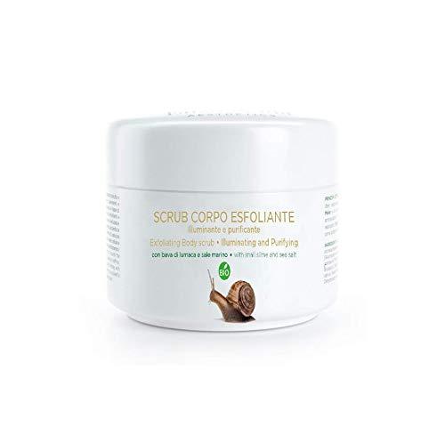 Scrub Exfoliante Corporal con Baba de Caracol Sal Marina y Aloe Vera,Biològico, Made in Italy, 250ml