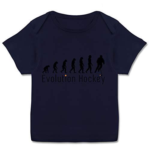Evolution Baby - Evolution Hockey - 56-62 (2/3 Monate) - Navy Blau - Mensch - E110B - Kurzarm Baby-Shirt für Jungen und Mädchen