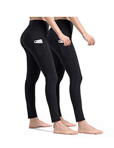 ALONG FIT Damen 2er Pack Leggings High Waist Blickdichte Sporthose mit Taschen Hohe Taille Lange Yogahose für Fitness Sport Schwarz*2 XL
