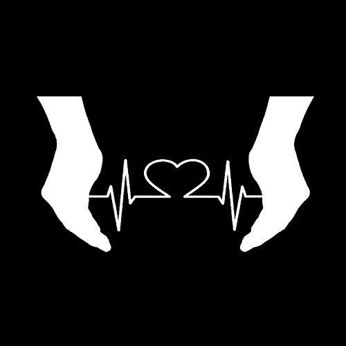 ZQZL 14.3 * 8.1 CM Misterioso Latido del corazón Palma Abierta electrocardiograma Etiqueta engomada del Coche decoración de Vinilo gráficos
