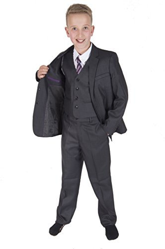 Cinda 5 Stück Grau Boy Anzüge Hochzeit Anzug Junge Seite Partei-Abschlussball -Klagen Dunkelgrau 98-104