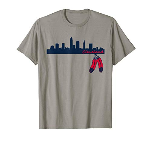 Cleveland Skyline & Native American Feather 2 T-Shirt