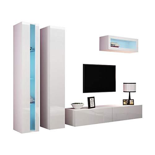 Jadella Wohnwand Anbau Wand Fernsehschrank Hängeschrank Regal Hochglanz Matt Wohnzimmer, Farbe:weiß matt/weiß Hochglanz, LED Beleuchtung:mit LED