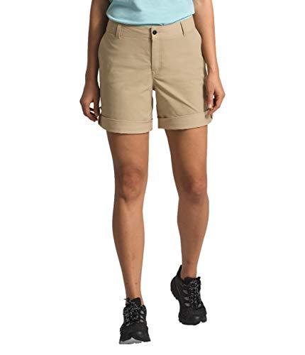 The North Face Pantalón corto Wandur para mujer, color beige, talla 0