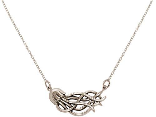 Gemshine Maritim Nautics Halskette mit Meduse Qualle aus 925 Silber, hochwertig vergoldet oder rose im Navy Stil – Made in Madrid, Spain, Metall Farbe:Silber