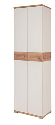 Germania 3774-513 Garderobenschrank GW-Topix in Weiß/Navarra-Eiche-Nachbildung, 59 x 199 x 40 cm (BxHxT)