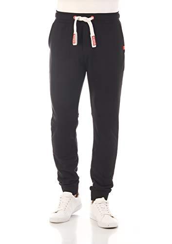 riverso Herren Sweathose RIVTim Trainingshose Jogger Jogginghose Sporthose Freizeithose Slim Einfarbig Baumwolle Schwarz 5XL, Größe:5XL, Farbe:Black-Formula Red (24002)
