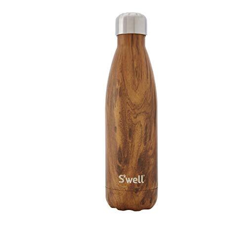 Tourist Cup S'well - Botella de agua de acero inoxidable aislada al vacío, 500 ml, madera de teca