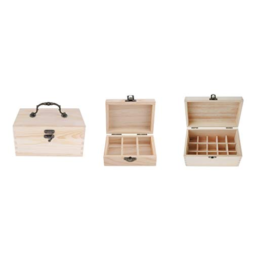 Baoblaze 3pcs Porte-boîtes de Rangement en Bois Naturel Présentoir Huiles Essentielles Storage Organizer