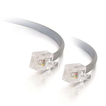 C2G RJ11 Modular Telephone Cable Silver  7 Feet 2.13 Meters  - 02970