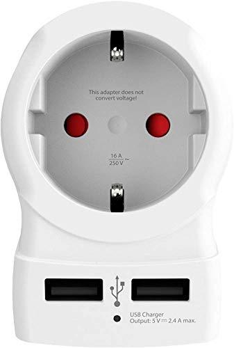 SKROSS - Adaptador de Viaje con Enchufe de Francia a Estados Unidos y Canadá, Cargador USB de 2 Puertos 2,4 A