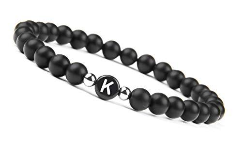 Black Onyx Handmade Bracelet w/ Engraved Initial   K Kaine Kayne Kenan Kenneth Kayson Kelvin Kayne Kim Kendrick Kacey Kathy Kate Kailyn Kaitlyn Katy Kathleen Katie Kensey Kim