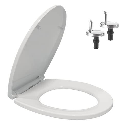 Soft Close Toilet Seats White | Toilet Seats with Quick Release Button | Dual Top and Bottom Fixing | O Shape Loo Seat | Toilet Lid with Stainless Adjustable Hinges