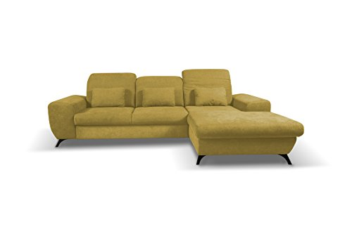 Canapé d'angle Jaune Tissu Confort