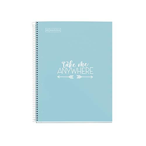 MIQUELRIUS - Cuaderno Notebook Messages - 1 Franja de color, A4, 80 Hojas Rayas Horizontales, Papel 90 g, 4 Taladros, Cubierta de Cartón Extra Duro, Color Azul