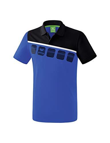 Erima 5-C Poloshirt Mixte Adulte, Blanc/Oriental Blue/Colonial Blue, FR : 3XL (Taille Fabricant : XXXL)