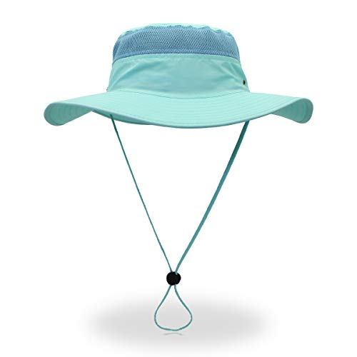 Jane Shine Outdoor Sun Hat Quick-Dry Breathable Mesh Hat Camping Cap Light Blue