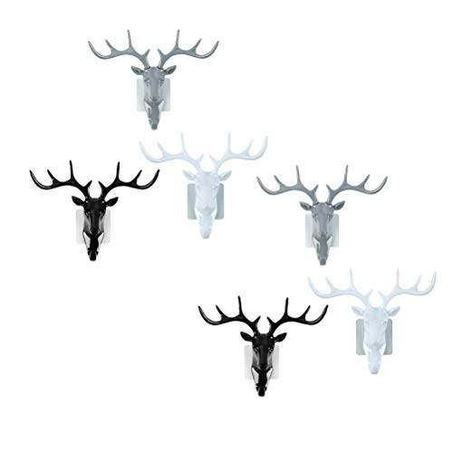 6 Stücke Stereoscopic Hirschkopf Form Haken Geweih Decor Wandhaken Kleiderbügel Hut Kappe Halter Veranstalter für Zuhause Schlafzimmer Bad (Schwarz Weiß und Grau, 2 stücke für Jede Farbe)