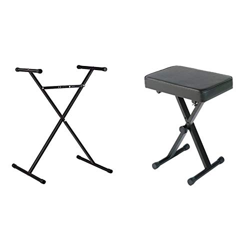 Casio ARST Single-X Adjustable Keyboard Stand & YAMAHA PKBB1 Adjustable Padded Keyboard X-Style Bench, Black,19.5 Inches