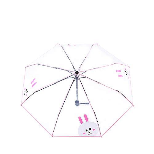 IUU Cute Cartoon Auto Open Close Transparent Folding Umbrella Automatic Umbrella 8 Ribs Umbrellas Travel Umbrella Lightweight Portable (Pink)