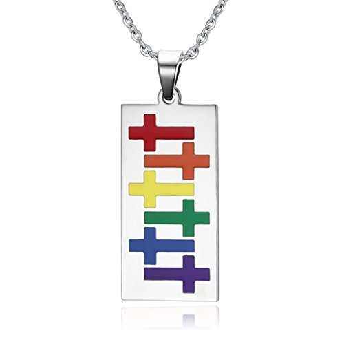 Coniea Collares Acero Hombre Esmalte Cruzado Arco Iris para Lesbianas Gay 44 * 20Mm Collar De Hombre Plata