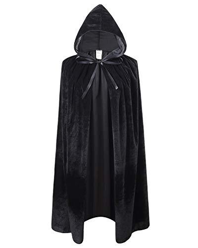 Ourlove Fashion Kids Velvet Cape Cloak with Hood Unisex-Child Cosplay Halloween Christmas Costume (100cm/39.4inch, Black)