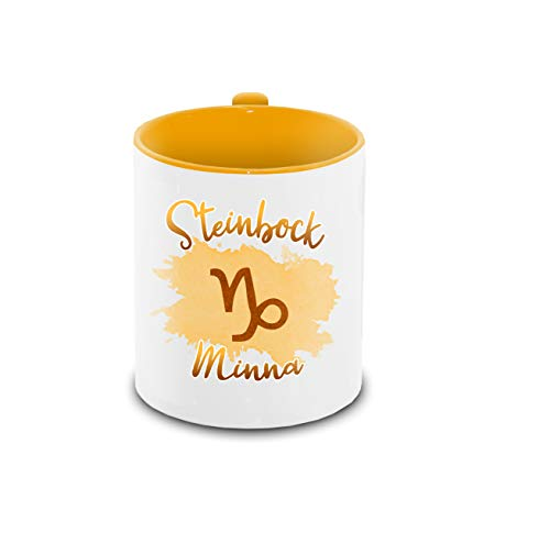 Tasse mit Namen Minna und Sternzeichen-Motiv Steinbock im Lettering-Stil | Keramik-Tasse gelb | Astrologie-Geschenk