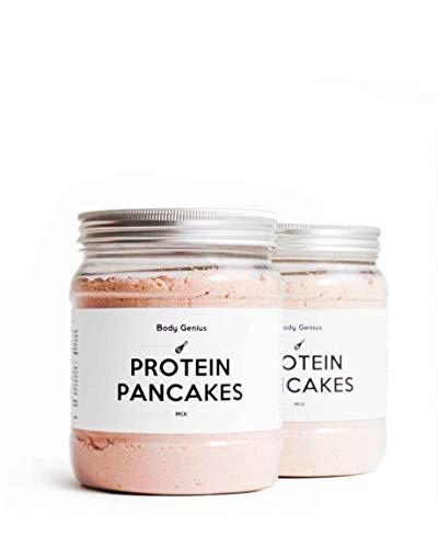 BODY GENIUS Dúo Protein Pancakes (Pizza y Queso) 2x400g. Tortitas Proteicas Saladas. Natural, Alto en Proteína, Bajo en Hidratos, Sin Azúcar, Sin Aceite de Palma.